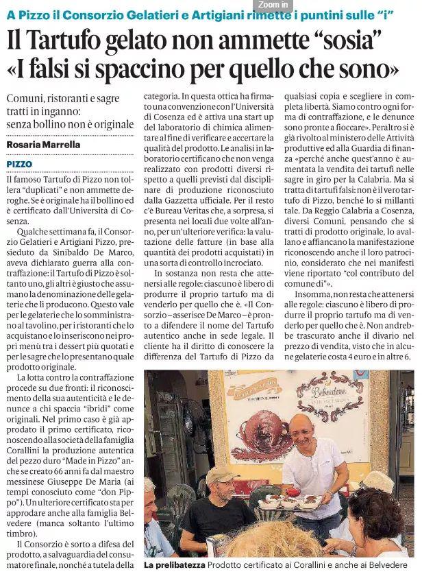Consorzio Gelatieri Artigiani di Pizzo - Articolo di giornale