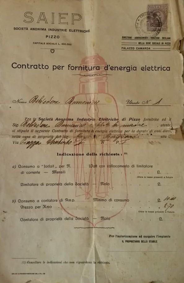 Contratto fornitura energia elettrica numero 1